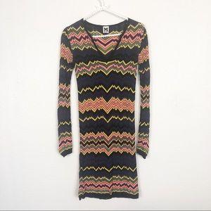 M Missoni Knit Woven Long Sleeve Dress sz 2